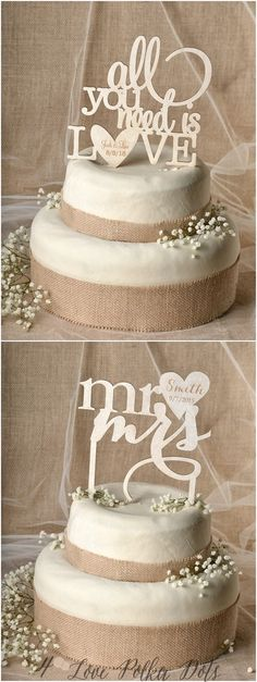 Rustic laser cut wedding cake toppers