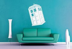 Tardis  Dr Who  Wall Vinyl  Medium by WallsOfText on Etsy, $18.95