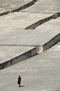 Gray Concrete Art by Alberto Burri, Cretto di Gibellina the concrete village