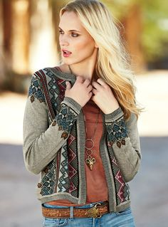 Geometrics from an Indonesian textile are traced front and back in teal, burgundy, rose and taupe pima. Jacquard knit with a buttonless placket and striped rib-knit trim. Motif Fair Isle, Bohemian Style, Boho, Peruvian Connection, Indochine, Fair Isle Knitting, Cotton Cardigan, Fashion Pictures, Casual Chic