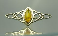 Amber Silver Celtic Knot Pin