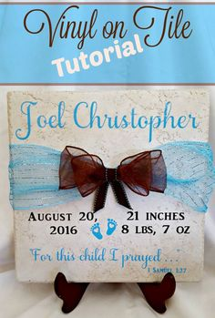 Beautiful and Easy Cricut Gift Ideas! - Leap of Faith Crafting DIY vinyl projects that are perfect as unique gifts or for the home. Learn how to put vinyl cut with a Cricut on a tile for a beginner. Diy Vinyl Projects, Tile Projects, Vinyl Crafts, Circuit Projects, Wood Crafts, Paper Crafts, Faith Crafts, 1 Samuel 1 27, Vinyl Tiles