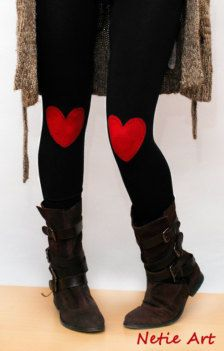 Leggings with felt heart patches- could def diy