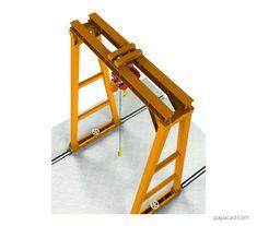 Gantry crane design pdf with 3D models papacad.com Crane Drawing, Technical Documentation, Crane Design, Autodesk Inventor, Gantry Crane, 3d Cad Models, Technical Drawing, Autocad, Pdf