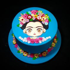 Fondant Cakes, Cupcake Cakes, Frida Kahlo Birthday, Mexican Birthday Parties, Barbie Theme, Birthday Cake Pictures, Small Cake, Vegan Cake, Holiday Treats