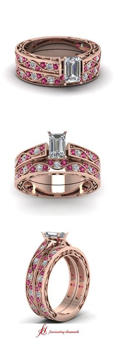 Shank Wave Set || Emerald Cut Diamond Wedding Sets With Pink Sapphire In 14K Rose Gold