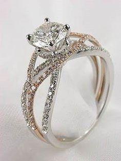 Spiral band diamond engagement ring