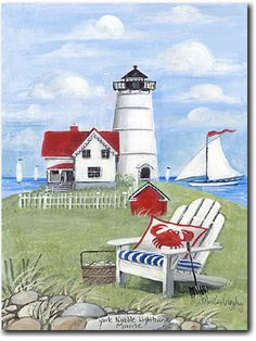 Cape Neddick Lighthouse ( ME ) - Cape Neddick Lighthouse ( ME ) Romantic Print ( Giclee ) by Mary Kay Crowley from Cottages and Gardens