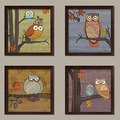 4 Awesome Owls in Tree Set by Paul Brent, Four 12 by 12-Inch Brown Framed Prints