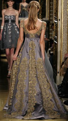 Zuhair Murad Haute Couture Spring 2007 - lilac and gold gown/ very Medieval Beautiful Gowns, Beautiful Outfits, Gorgeous Dress, Runway Fashion, High Fashion, Couture Fashion, Mode Outfits, Mode Inspiration, Dream Dress