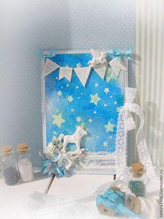 """Купить Открытка""""Спит уже малыш"""" - синий, для мальчика, малыш, подарок на рождение, открытка для мальчика"""