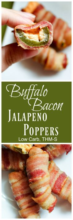 Buffalo Bacon Jalapeño Poppers {Low Carb, THM-S}