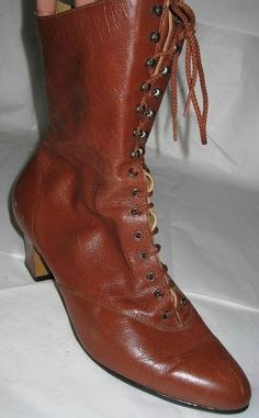 Size 11WW Vintage Granny Boots Cognac Brown by ExpertImageVintage, $35.00