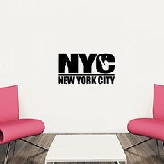 NYC New York City Vinyl Wall Words Decal Sticker Graphic. Measures 20 x 36 inches. Application instructions are included. Some decals may come in multiple pieces due to the size of the design. Our vinyl graphics are easy to apply to any smooth surface. Put them on walls, wood, glass, tile, windows, canvas, ceramics, the possibilities are endless! These work on many different wall surfaces including textured walls. Your graphic will last indefinitely if you wish, or you can simply remove…