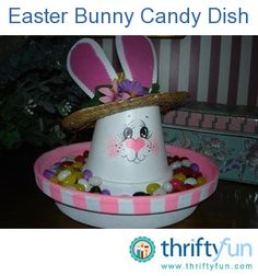 Make a cute bunny candy dish for Easter.  Spray paint a terracotta clay pot and saucer white (any size you desire is acceptable). Sponge paint the interior of the saucer with a spring color if you desire.