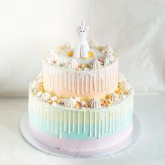 Giant Two Tier Rainbow And Unicorn Themed Cake Cakes