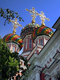 Colorful church domes in Nizhny Novgorod, Russia