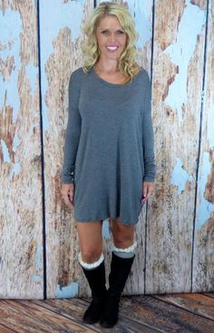 Loose Slouchy Tunic: Grey  #privityboutique