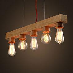 EDISON Native Wood Handmade Wooden Chandelier Hanging LED Pendant Lamp