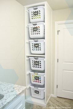"Receive great recommendations on ""laundry room storage diy shelves"". They are available for you on our web site. Laundry Room Organization, Laundry Room Storage, Laundry Room Design, Bathroom Storage, Laundry Rooms, Laundry Sorter, Basket Organization, Small Laundry, Bathroom Ideas"