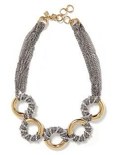 An idea for semiprescious stone donut beads: Wrap them with chain?  |  Mixed Metal Statement Necklace from Banana Republic