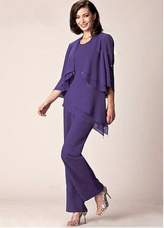 [126.99] Delicate Pant Suits Chiffon Scoop Neckline Full-length Mother Of The Bride Dresses - dressilyme.com