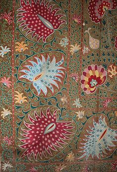 Suzani derives from the Persian word for needle. However, for textile lovers, the word is synonymous with the glories of Uzbek embroidery. Stitched cooperatively by women and girls for centuries as part of their dowries, suzanis today remain a significant decorative and cultural art in Uzbekistan. Since the 2nd century B.C. Central Asia's great oasis cities absorbed designs from all over the Silk Road.