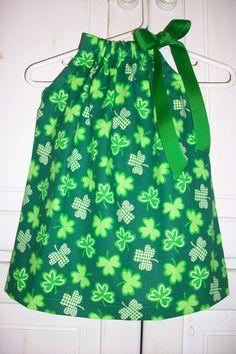 Pillowcase Dress St Patricks Day SHAMROCKS Green baby toddler girl Order by March 1. $16.99, via Etsy.