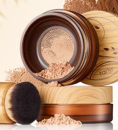 This is a loose powder but with a filter inside the case so you never have to worry about too much powder spilling out and creating a mess.