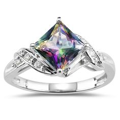 Diamond Mystic Fire Topaz Ring In 14k White Gold