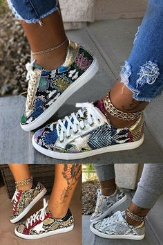 Women Comfy Daily Lace-up Multi Snake Sneaker Cute Sneakers, Cute Shoes, Me Too Shoes, Sneakers Fashion Outfits, Fashion Shoes, Fashion Trainers, Converse Style, Unique Shoes, Summer Shoes