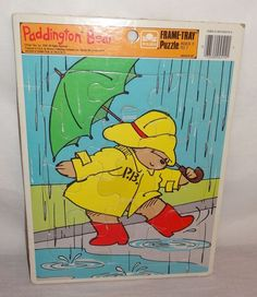 Paddington Bear Rain Umbrella  Frame Tray Puzzle 1989 Golden 12 pc.  U.S.A.  #Golden