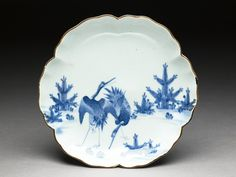 Petalled saucer with cranes Arita kiln-sites, early 18th century