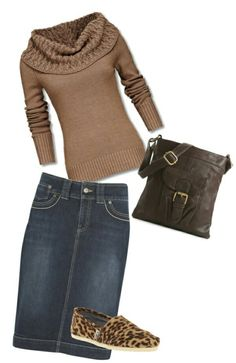 Denim j Jill with charcoal funnel neck sweater