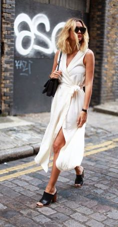 white dress and mules