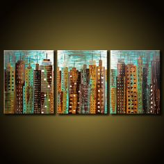 Original Modern Urban City Painting 20x48 by FariasFineArt on Etsy