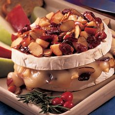 Baked Brie with Apples & Cranberries - The Pampered Chef®. Lisa made this at Fall 2014 scrapbook weekend. Yum.