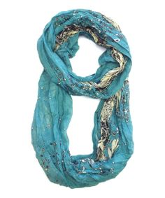 Take a look at the Turquoise  Cream Bohemian Flower Infinity Scarf on #zulily today!