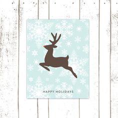 Christmas Decor, Holiday Art Print, Rudolph the Reindeer Print with Aqua Snowflake Background