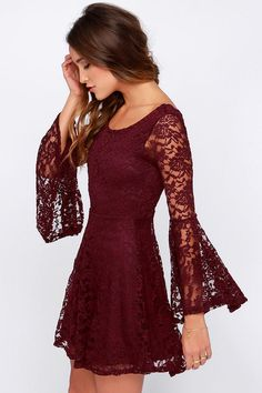 Red lace long sleeve dress forever 21