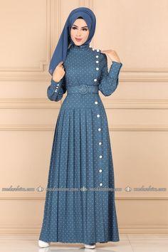 Modaselvim FERACE Puantiyeli Elbise Ferace 9499W153 Mavi