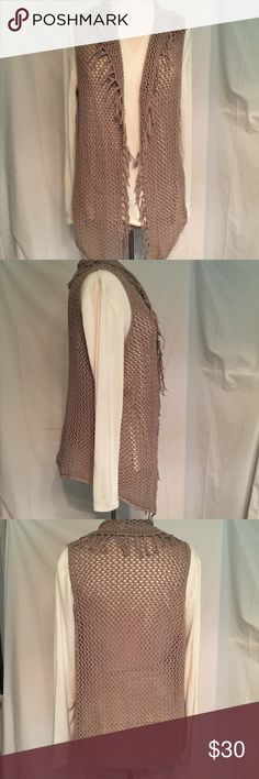 Chico's Sz3 Crochet Vest (B-11) EUC Tan colored very soft crochet vest with fringe. Shown over the Talbots Cream colored Mock Wrapped Tee also for sale in my closet. Please see Chico's Size Chart and picture of measurements. Chico's Size 3 is equal to a 16. Chico's Jackets & Coats Vests