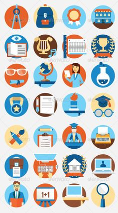 Set of Flat Education Icons by enotmaks Set of flat education icons vector icons for design - 28 business icons Zip file contains: EPS vector file