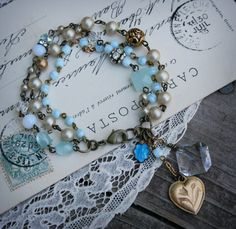 Blue Heaven  Vintage Rosaries Triple Strand by labellesavage, $52.00