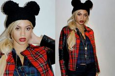 Beyonce's favorite Mickey Mouse Pom Pom Beanie Hat in black. 100% acrylic.