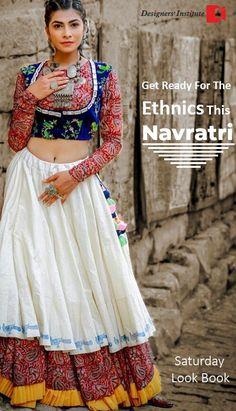 New Chaniya Choli & Blouse Designs for Navratri 2019 - LooksGud.in White Layered Embroidered Chaniya Choli With Red Printed Blouse Chaniya Choli Designer, Garba Chaniya Choli, Garba Dress, Navratri Dress, Choli Dress, Choli Blouse Design, Blouse Designs, Lehenga Designs, Indian Lehenga