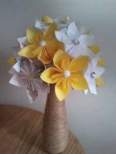 Summer Wedding bouquets -bright yellow and white-origami bouquets-lifelong bouquet-made to order. £68.00, via Etsy.