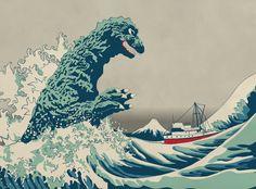 The G-Wave off Kaijugawa, a Godzilla/Hokusai-inspired illustration by Miles Donovan.