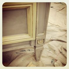Painted with Annie Sloan Chalk Paint in Paris Grey and Cream. Yum.
