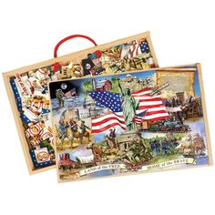 This Shure's educational set of  24 pc puzzles in a wooden box presents all US presidents and significant moments in the American history.